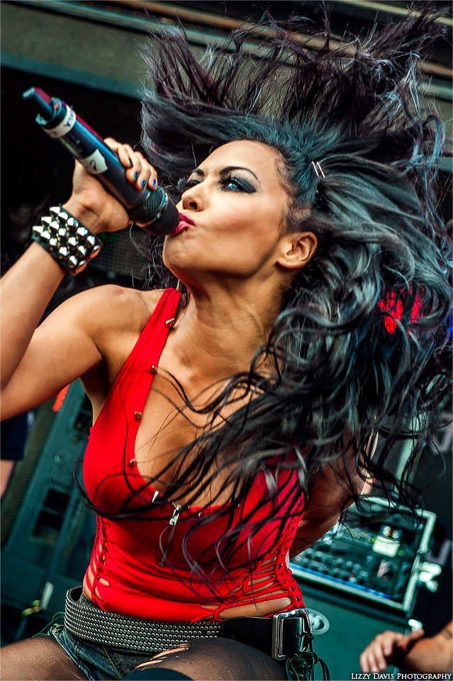 Photo of Butcher Babies vocalist Carla Coates at Rock on the Range 2014, appears on 'Uncovered' EP album cover. Photo by Lizzy Davis.