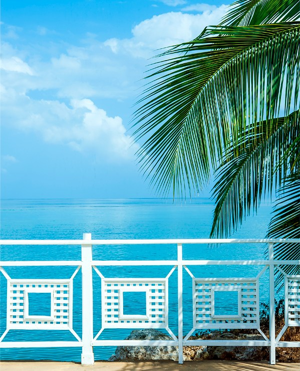 White gate and palm trees overlooking Caribbean waters at Ocho Rios, Jamaica. Photo by Lizzy Davis.