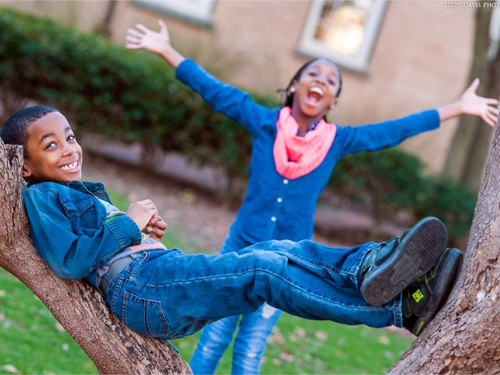 Candid family photos of a brother and sister at UNC campus.