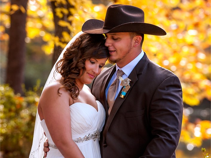 Beautiful bride and groom. Autumn wedding photography in Sanford, NC by Lizzy Davis.