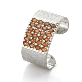 Silver Sunstone Cuff Geometric - LJD Jewelry Designs by Laura Jackowski-Dickson