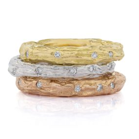 Gold Diamond Stack Ring - LJD jewelry designs by Laura Jackowski-Dickson