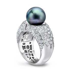 Gold Pearl Diamond Divided Ring - LJD jewelry designd by Laura Jackowski-Dickson