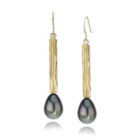 Pearl Gold Dangle Earrings Waterfall series with cultured Tahitian Pearls- LJD jewelry designs by Laura Jackowski-Dickson