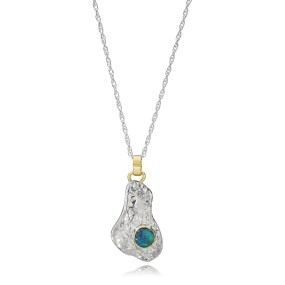 Opal gold and silver Island Pendant with Boulder Opal set in 18K Bezel- LJD jewelry designs by Laura Jackowski-Dickson