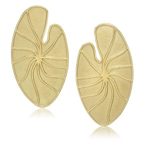 Gold Lily Pad Earrings- LJD jewelry designs by Laura Jackowski-Dickson