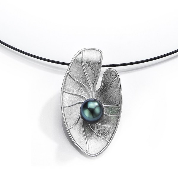 Silver Pearl Lily Pad Pendant, cultured Tahitian Pearl- LJD jewelry designs by Laura Jackowski-Dickson