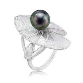 Silver Pearl Lily Pad Ring Silver - LJD jewelry designs by Laura Jackowski-Dickson