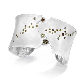 Silver Cuff Milky Way Night Sky series with Diamonds- LJD jewelry designs by Laura Jackowski-Dickson