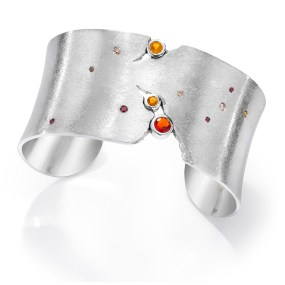 Silver Sunset Cuff Night Sky series- LJD jewelry designs by Laura Jackowski-Dickson