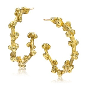 Gold hoop earrings Palm Berries series small- LJD jewelry designs by Laura Jackowski-Dickson