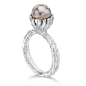 Silver Pearl Banyan Tree Ring with Bezel set Pearl-LJD jewelry designs by Laura Jackowski-Dickson