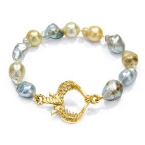 Gold Pearl Bracelet Seahorse Heart clasp- LJD jewelry designs by Laura Jackowski-Dickson