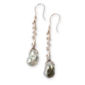Pearl Silver Drop Earrings Palm Berries series with extreme cultured Baroque Tahitian Pearls- LJD jewelry designs by Laura Jackowski-Dickson