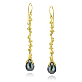 Palm Berries Gold long drop Earrings- LJD jewelry designs by Laura Jackowski-Dickson
