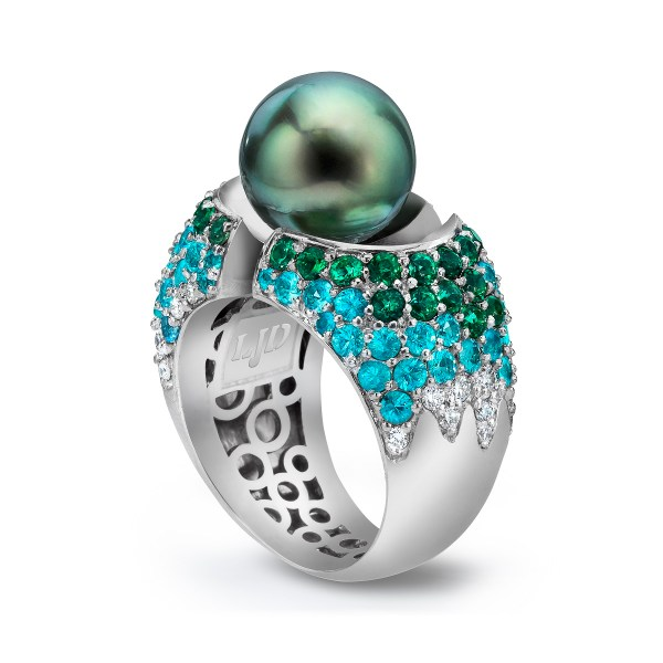 Gold Diamond Pearl Ring Divided with Paraiba Diamonds and cultured Tahitian Pearl- LJD jewelry designs by Laura Jackowski-Dickson