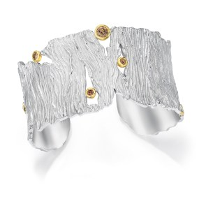 Silver-Gold Seagrass Cuff 5 sections with Diamonds- LJD jewelry designs by Laura Jackowski-Dickson