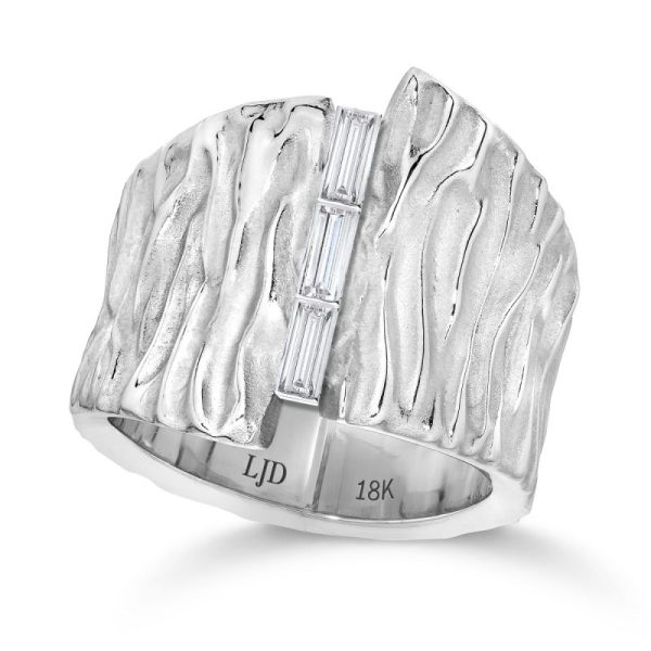 Gold Diamond Wedding Ring seagrass series 18K White Gold - LJD Jewelry Designs by Laura Jackowski-Dickson