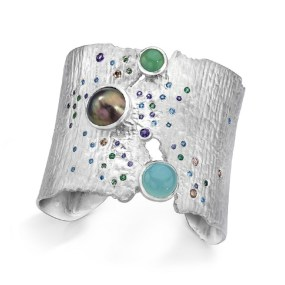 Silver Cuff Sea of Cortez Torn Between series- LJD jewelry designs by Laura Jackowski-Dickson