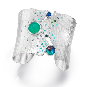 Silver Cuff Sea of Cortez Moonlight Torn Between series- LJD jewelry designs by Laura Jackowski-Dickson