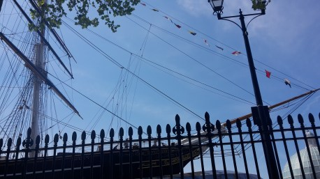 Partial view of the Cutty Sark from our picnic spot
