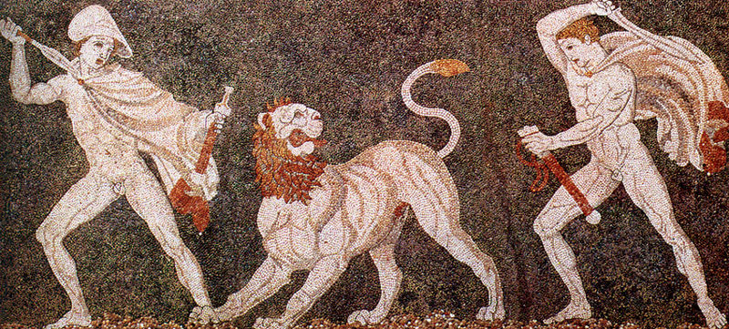 800px-Lion_hunt_mosaic_from_Pella