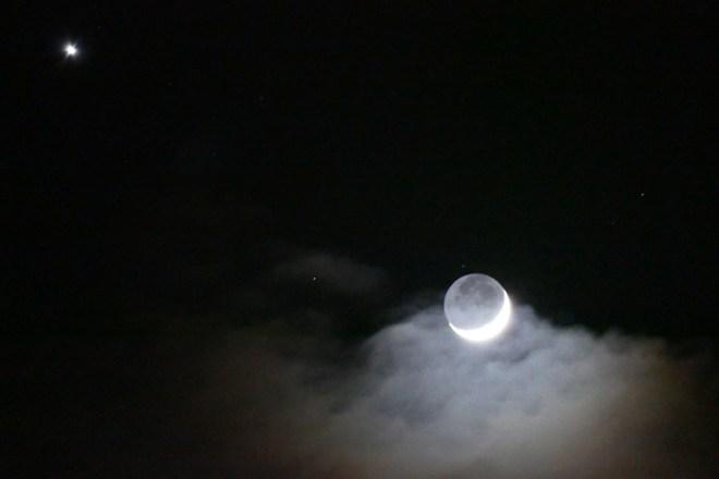 Moon and Venus January 1, 2017 night sky from Sonoma Ashram, Sonoma CA