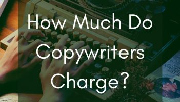 hand over a typewriter with overlaid text reading how much do copywriters charge