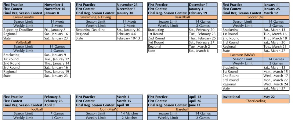2020-2021 NCHSAA Schedule