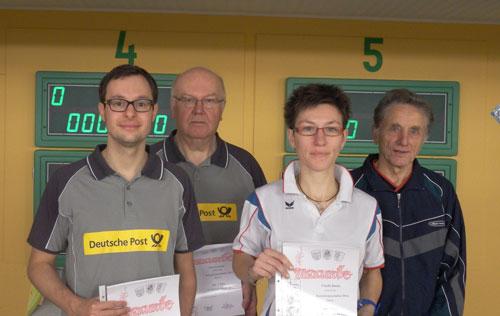 Kreismeister Einzel 2014 v. l. Michael Duda, Wilhelm Kiehn, Claudia Bartels, Otto Kohfeld