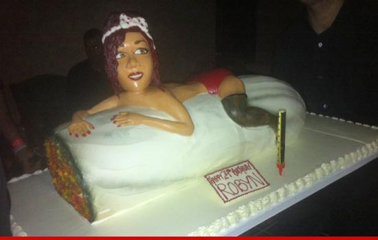 Rihanna birthday cake -- her riding a huge marijuana joint