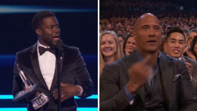 Image result for The rock people's choice awards kevin hart flip the bird