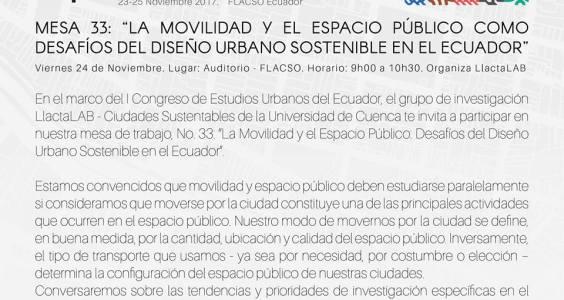 Coordinación de mesa temática en el I Congreso de Estudios Urbanos del Ecuador