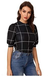 Puff Sleeve work blouse for women with athletic arms