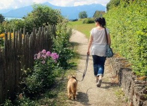 woman walking dog in nature for exercise