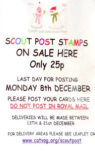 Scout Post Stamps cost 25p. The deadline is 8 December 2014