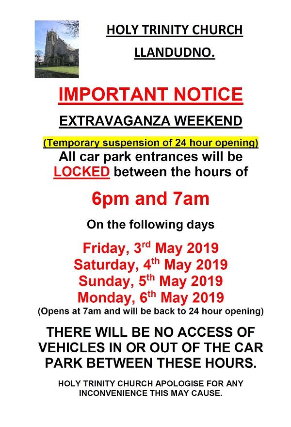 Extravaganza parking notice