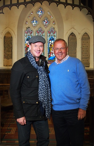 Russell Watson and James Leggate at St. Tudno's Church.