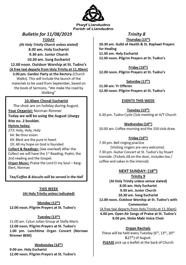 Bulletin for 11 August