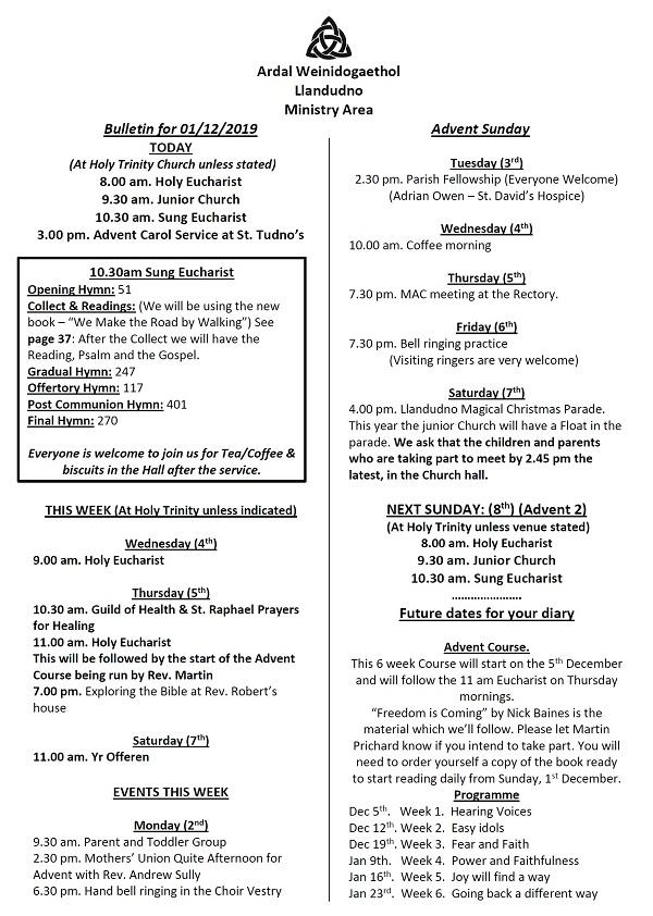 Bulletin for 1 December