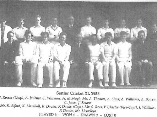 CRICKET XI,SENIOR TEAM,1958, PLAYED 6, WON 4,DRAW 2.