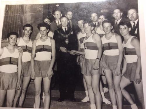 Grammar School Team carries Baton from Pembroke to Lougher Bridge,1958.