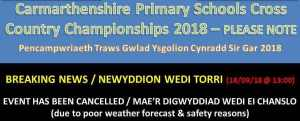 Primary School Cross Country Championships cancelled