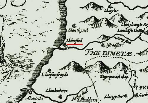1610 John Speed Map of Llanrhystud