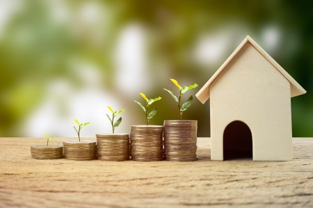 Real estate investment, Money savings for buy new home, Financial wealth management concept. A plant growing on stacked coins with wooden house model. Depicts the growth of the real estate business.