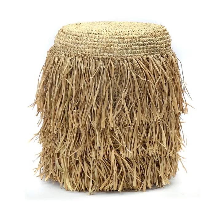 tabouret rond pouf fibre de raphia naturel
