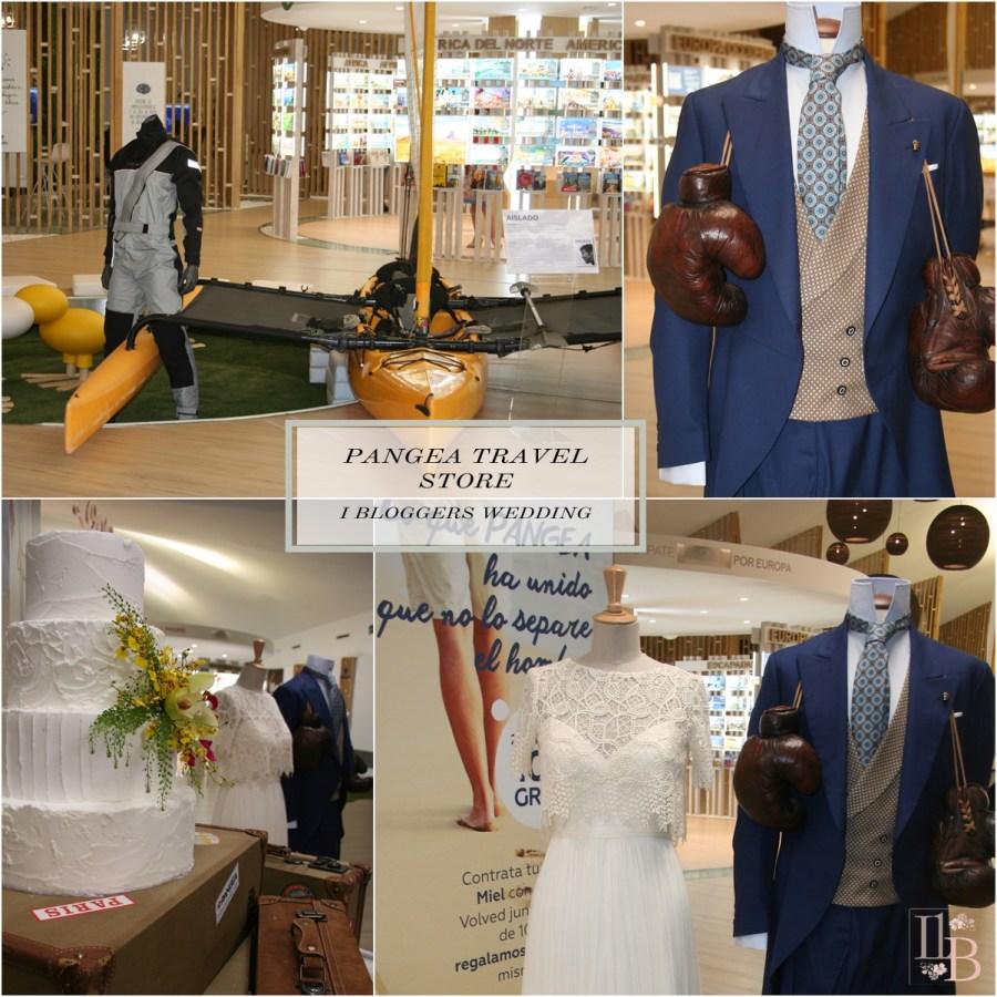 Tienda Pangea travel store, vestido de Jose María Peiró , traje de Pugil y tarta de Acaramelada.