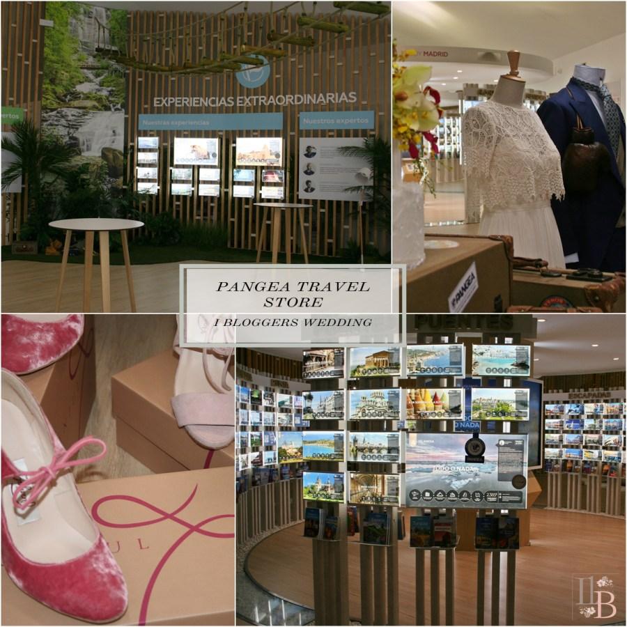 Tienda Pangea travel store, Zapatos de Franjul calzados, vestido de Jose María Peiró , traje de Pugil y tarta de Acaramelada.