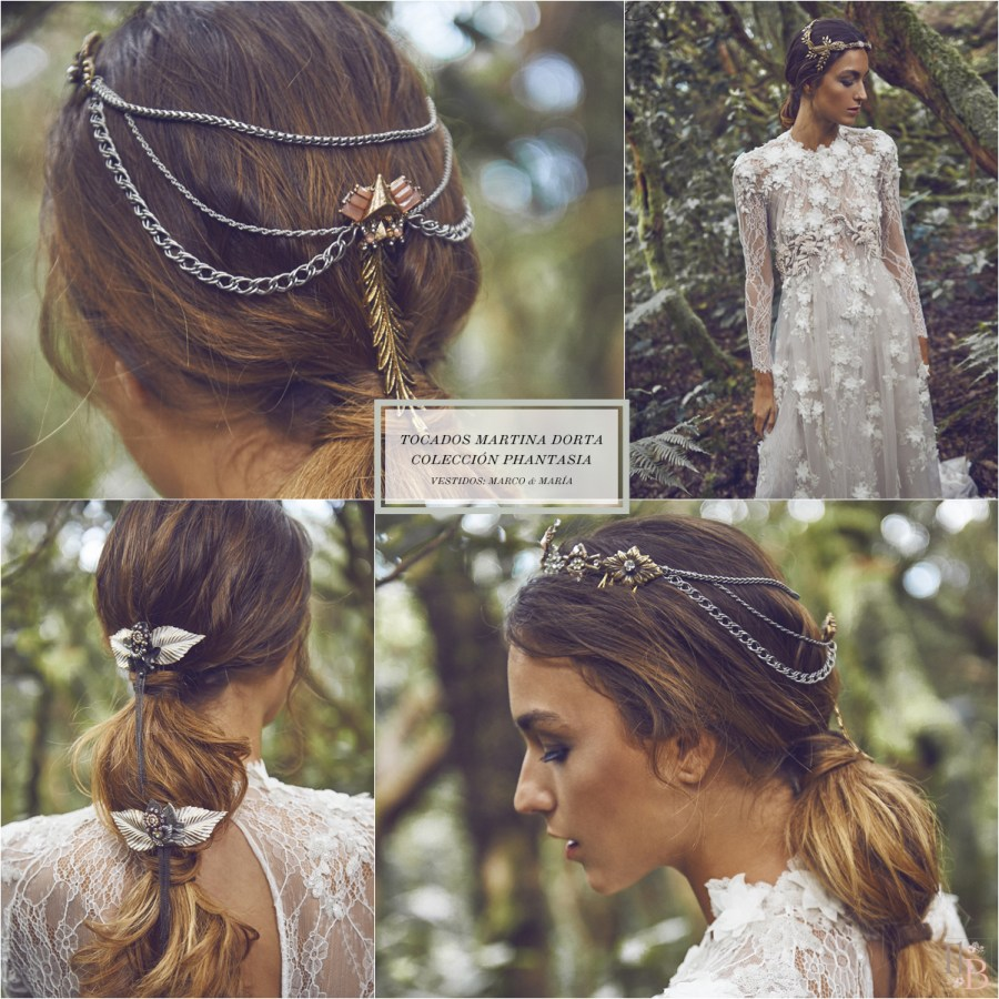 Phantasía: Nueva colección de tocados de Martina Dorta. Vestidos de Marco&María