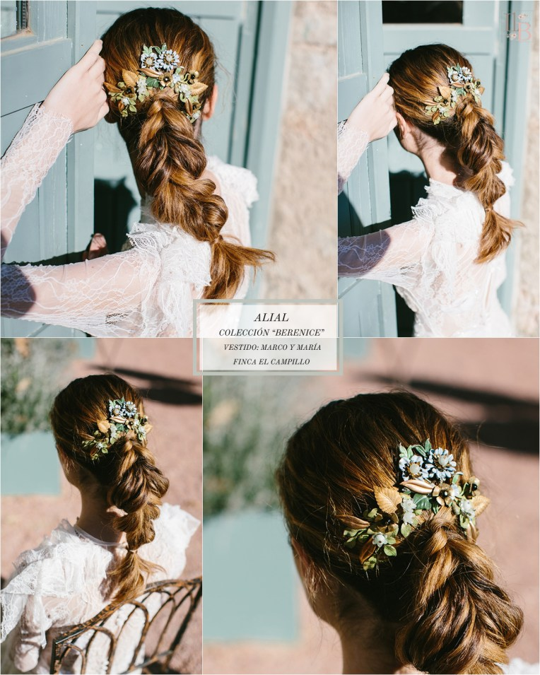 Berenice,la última colección deAlial.Vestido de novia de Marco y Maria. Finca el Campillo. Flores Savia Bruta.